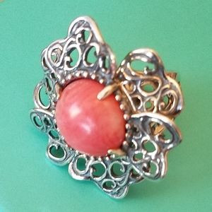 🍑Carolyn Pollack Sterling Silver Coral Ring